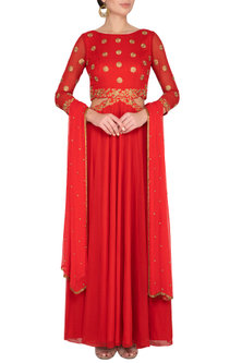 Red Embellished Waist Cut Anarkali Gown With Dupatta by Roora by Ritam