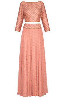 Dusty Rose Colored Embellished Lehenga Set by Roora by Ritam