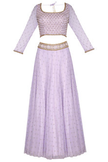 Lilac Embroidered Lehenga Set by Roora by Ritam