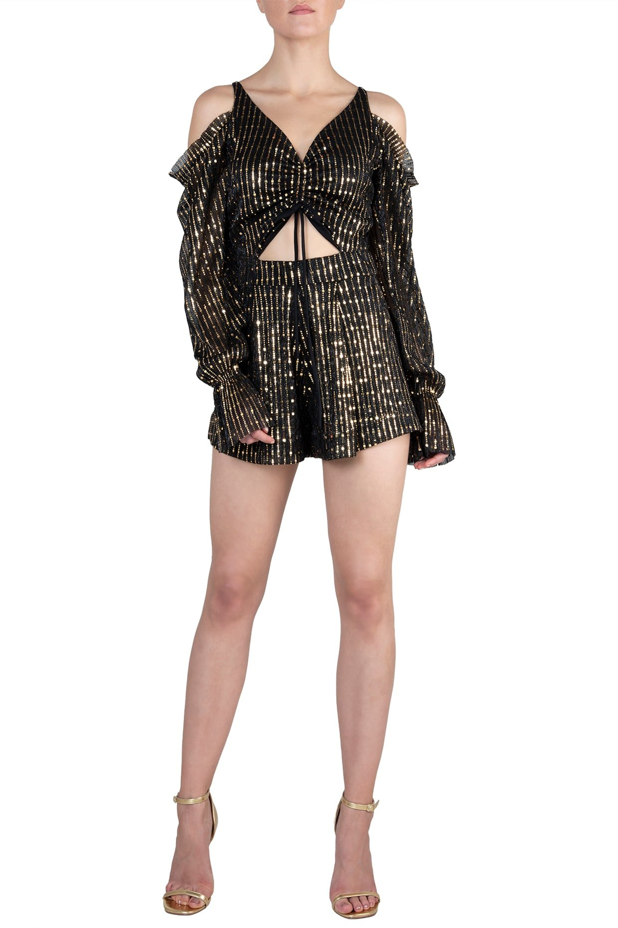 Black Metallic Cutout Playsuit by RS by Rippi Sethi-Handpicked for You