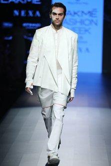 White Front Seam Trousers by Rajesh Pratap Singh Men