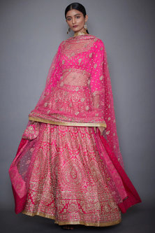 Neon Pink Embroidered Lehenga Set by Ri Ritu Kumar