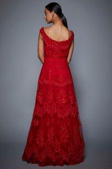 Red Embroidered Sleeveless Gown by Ri Ritu Kumar
