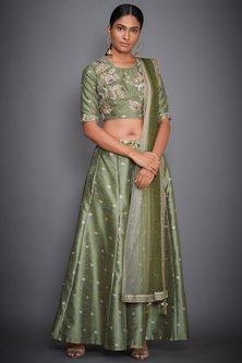 Olive Green Embroidered Kurta Set by Ri Ritu Kumar