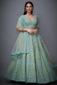 Mint Green Floral Lehenga Set by Ri Ritu Kumar