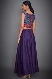 Coral Embroidered Crop Top With Purple Pants by Ri Ritu Kumar