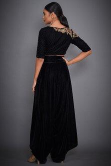 Black Embroidered Crop Top With Pants by Ri Ritu Kumar