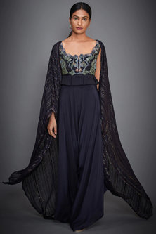Navy Blue Embroidered Top With Trousers by Ri Ritu Kumar