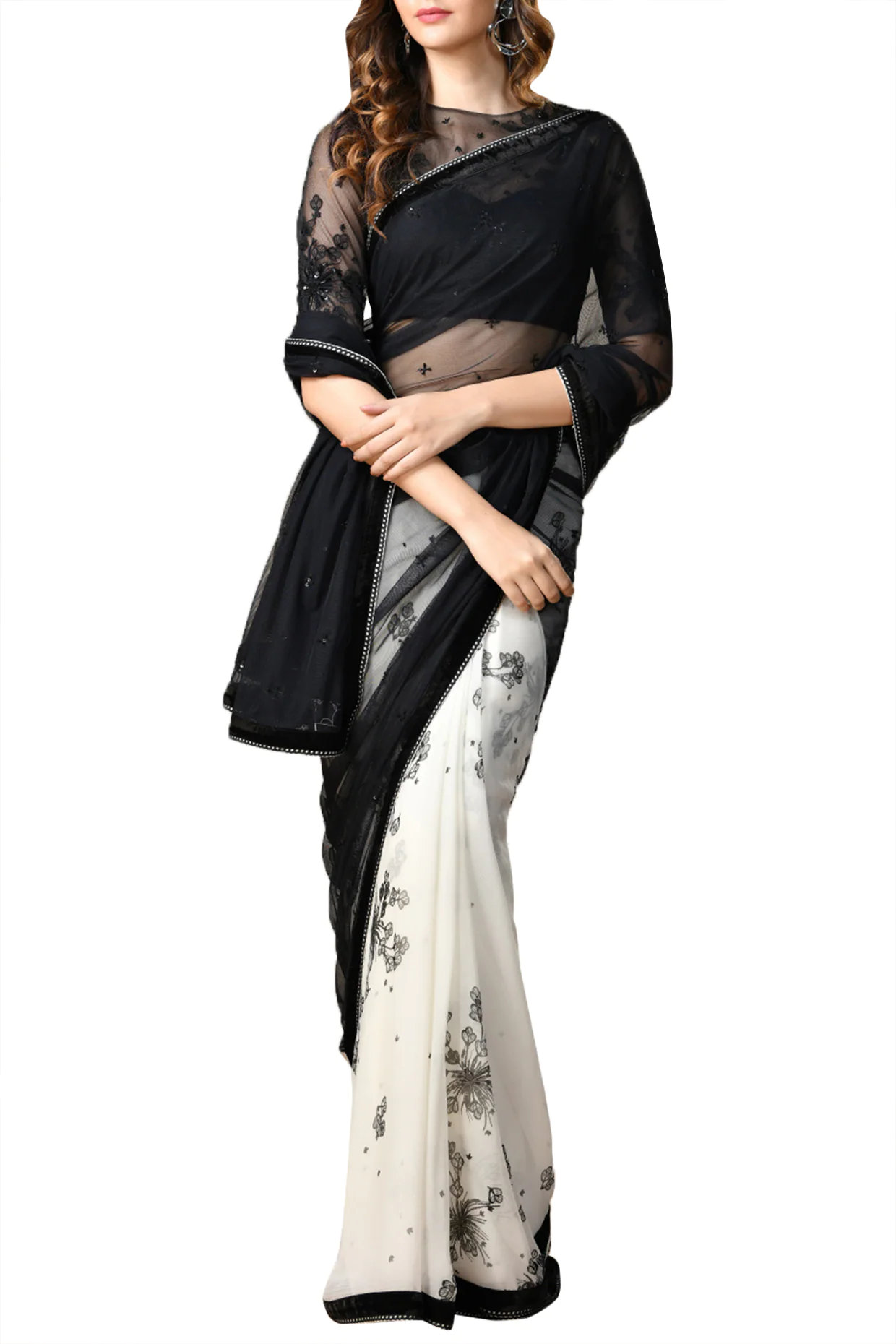 Ivory & Black Sheer Floral Saree Set