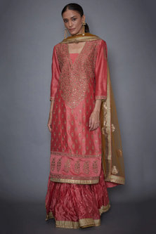 Coral & Khaki Embroidered Kurta Set by Ri Ritu Kumar
