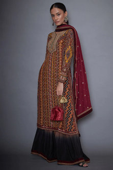 Brown & Black Embroidered Kurta Set by Ri Ritu Kumar