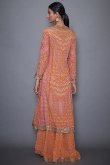 Pink & Yellow Embroidered Kurta Set by Ri Ritu Kumar