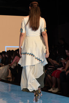 White Embroidered Top With Green Pants by Rajni Suyach