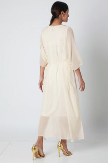 Off White Embellished Draped Kaftan by Ria Shah Label
