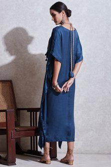 Blue Long Kaftan With Attached Necklace by Ritu Kumar