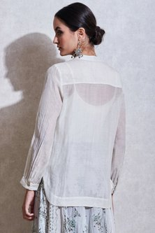 White Embroidered Short Kurta With Camisole by Ritu Kumar