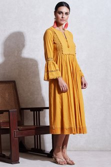 Yellow Dobby Long Kurta by Ritu Kumar