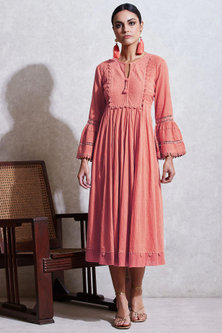 Pink Dobby Long Kurta by Ritu Kumar