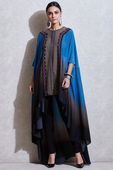 Blue Embroidered Gradient Cape by Ritu Kumar