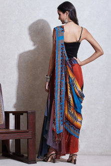 Multi Colored Embroidered Skirt With Drape & Inner by Ritu Kumar