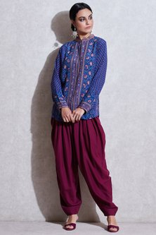 Blue & Pink Band Collared Kurta by Ritu Kumar