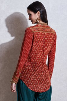 Rust Orange & Beige Band Collared Kurta by Ritu Kumar