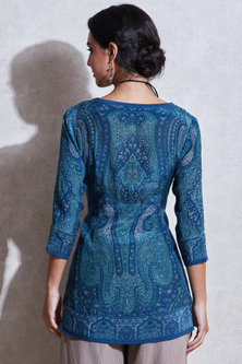 Blue & Aqua Blue Printed & Embroidered Kurta by Ritu Kumar