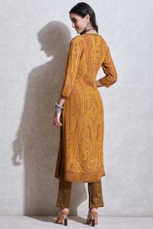 Mustard & Olive Green Printed Kurta Set by Ritu Kumar