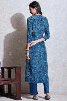 Blue & Aqua Blue Printed Kurta Set by Ritu Kumar