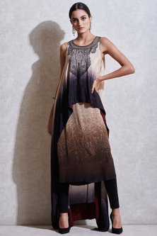 Black Embroidered Cape With Pants & Beige Inner by Ritu Kumar