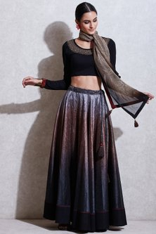 Black Embroidered Top With Skirt & Beige Scarf by Ritu Kumar