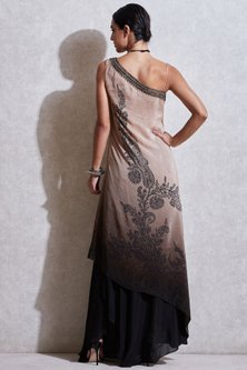 Beige & Black Embroidered Dress With Skirt by Ritu Kumar