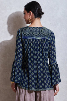 Indigo Blue & Sea Green Embroidered Kurta by Ritu Kumar