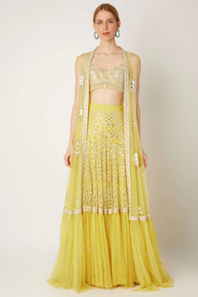 Lime Yellow Embroidered Jacket With Blouse & Skirt by Ritika Mirchandani
