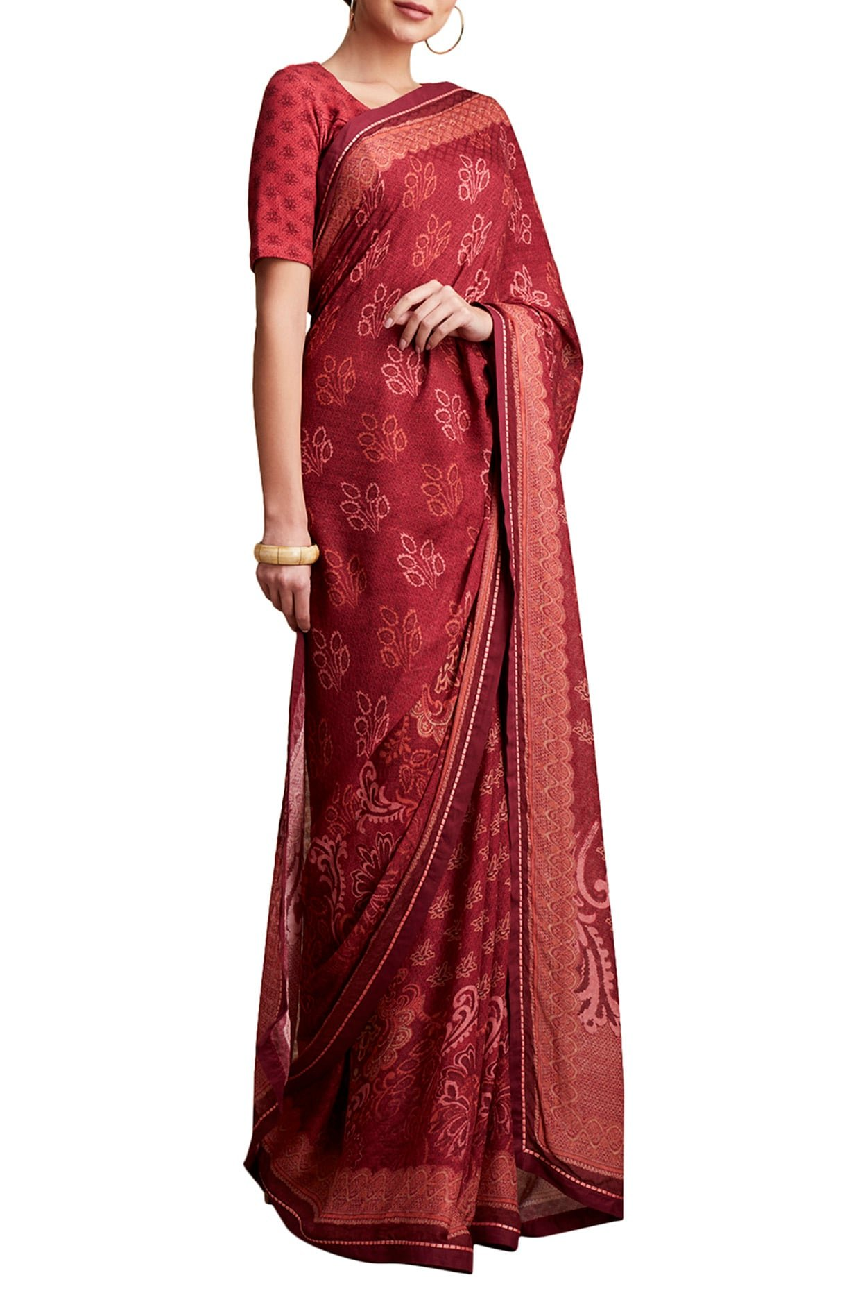 Red Printed Floral Saree
