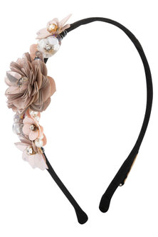 Peach Floral Embroidered Hairband by Studio Accessories