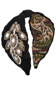 Black Floral Embroidered Turban Hairband by Studio Accessories