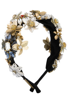 Multi Colored Embroidered Floral Hairband by Studio Accessories