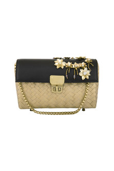 Black & Gold Embroidered Bag by Studio Accessories