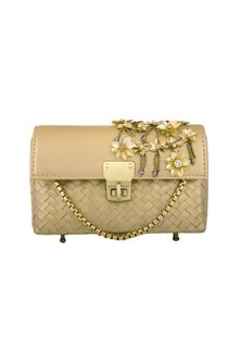 Gold Embellished Leather Clutch by Studio Accessories