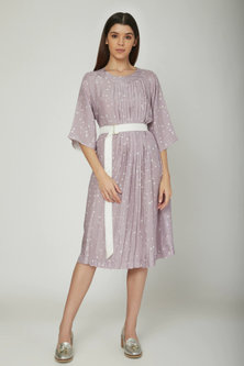 Mauve Pleated Dress With Belt by Sneha Arora