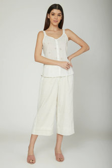 Off White Blouse With Trousers by Sneha Arora