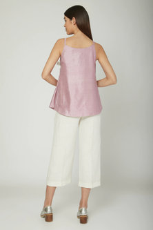Mauve Overlapping Blouse With Tie-Up by Sneha Arora