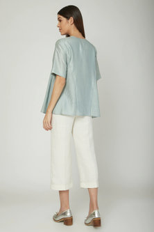 Aqua Blue Overlap Blouse With Tie-Up by Sneha Arora