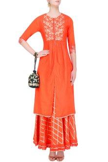 Orange Gota Patti Work Kurta and Skirt Set by Sukriti & Aakriti
