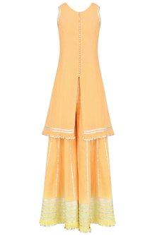 Orange and Yellow Ombre Gota Patti Embroidered Kurta and Skirt Set by Sukriti & Aakriti