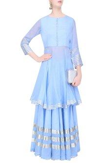 Light Blue Gota Patti Work Kurta and Skirt Set by Sukriti & Aakriti