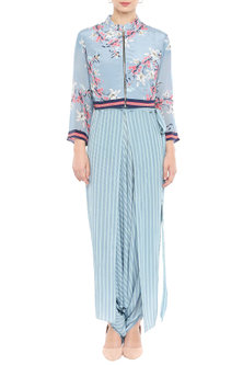 Blue Printed Jumpsuit With Embroidered Jacket by Soup by Sougat Paul