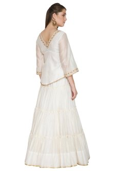 Ivory Embroidered Lehenga Set by Surendri by Yogesh Chaudhary