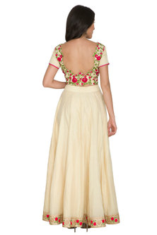 Beige Embroidered Blouse With Skirt by Shalini Dokania